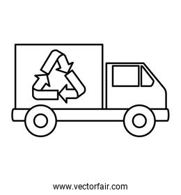 truck with recycle arrows symbol