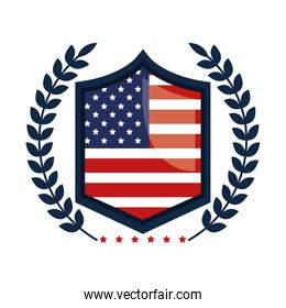 emblem with united states of america flag
