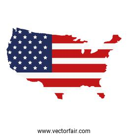 map with united states of america flag