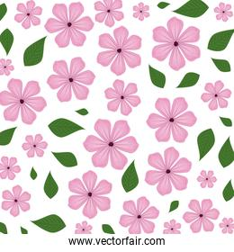 beautiful flowers with leafs pattern background