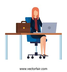 elegant businesswoman in the workplace