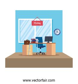 office workplace with hiring signboard hanging
