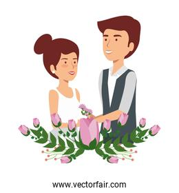 recently married couple with floral decoration