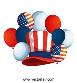 tophat and balloons helium with usa flag