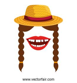 female gardener straw hat with mouth and braids