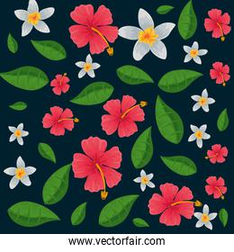 exotic tropical flowers and leafs pattern