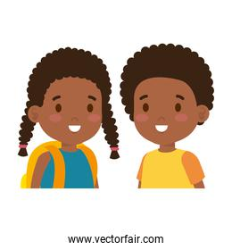 afro little kids couple characters