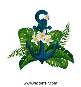 heliconia flower tropical plant with leafs and anchor