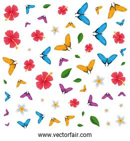 group of beautiful butterflies flying and flowers pattern