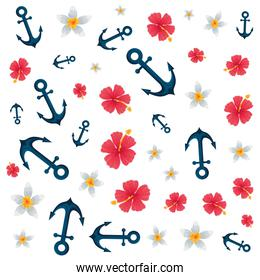 anchors ship and flowers pattern background