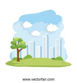 forest landscape with buildings scene