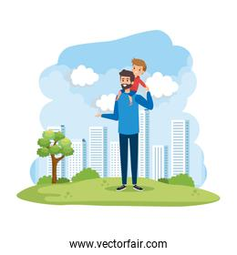 young father with son in the park scene