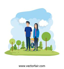 parents couple with son in the park scene