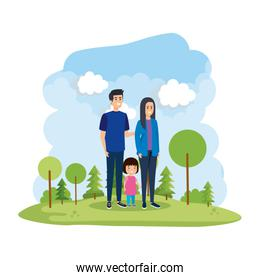 parents couple with daughter in the park scene