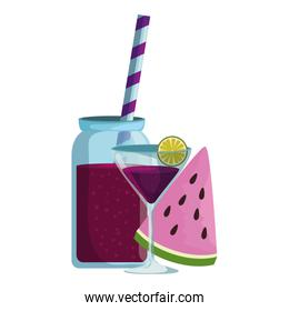 watermelon juice with pot and cocktail cup