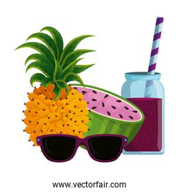 watermelon and pineapple juice with pot and sunglasses