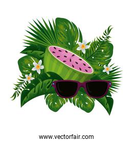 fresh watermelon with floral decoration and sunglasses