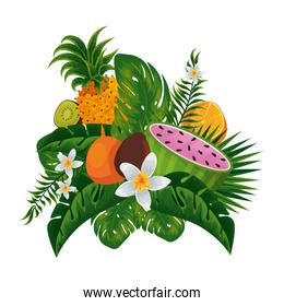 tropical watermelon and fruits with floral decoration