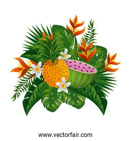 tropical watermelon and pineapple with floral decoration