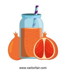 fresh tangerine with juice drink  pot and straw