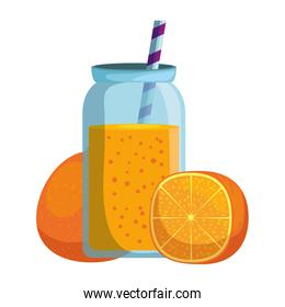 fresh tangerine with juice pot and straw