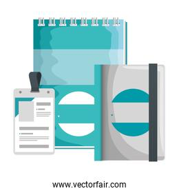 identification badge and notepad with company emblem