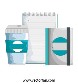 plastic container and notepad and book with company emblem