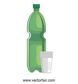 plastic bottle recycle with plastic cups