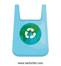 plastic bag with world planet and recycle arrows