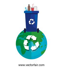 world planet with recycle waste and plastic products