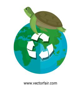 turtle with world planet and arrows recycle
