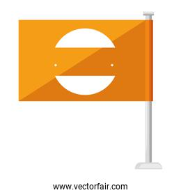 flag with commercial emblem print