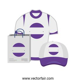 shopping bag and cap ,shirt with company emblem