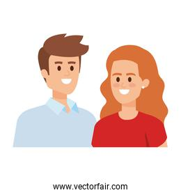 business couple avatars characters vector illustration
