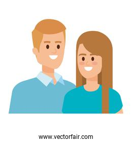 young couple lovers avatars characters