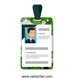 identification badge with tropical flowers print
