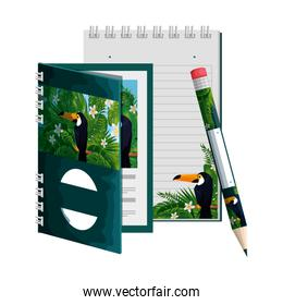 notepad and pencil with tropical fauna print