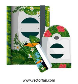 text book and cd with tropical fauna print