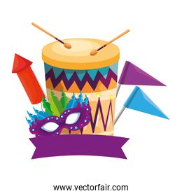 carnival mask with drum and rocket fireworks