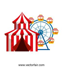 circus tent carnival with panoramic wheel