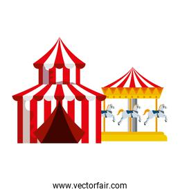 circus tent carnival with carousel