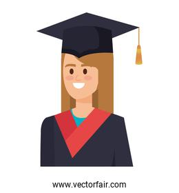 young woman student graduated character