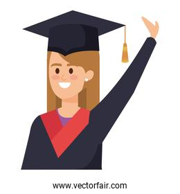 young woman student graduated celebrating