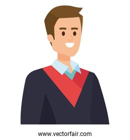 young man student graduated vector illustration