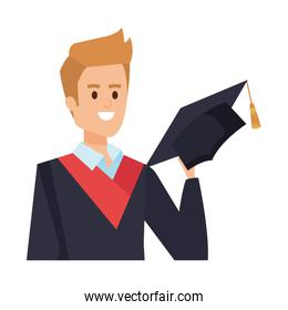 young man student graduated with hat