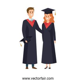 young couple students graduated characters