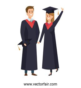 young couple students graduated celebrating