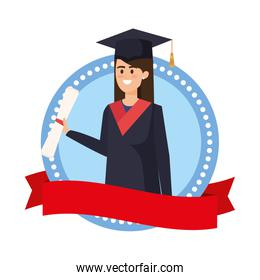 young woman student graduated in emblem with ribbon
