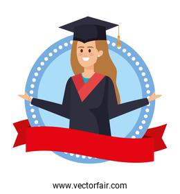 young woman student graduated in ribbon emblem