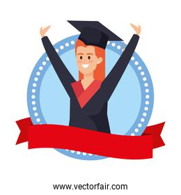 woman student graduated celebrating in emblem with ribbon